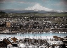 Portland, Oregon with Mt.Hood in background - Image from Oregon State University Special Collections & Archives Research Center on the Flickr Commons