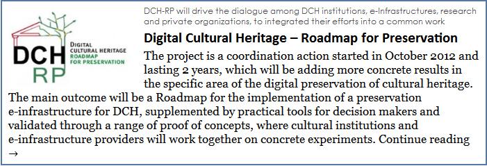Digital Cultural Heritage � Roadmap for Preservation