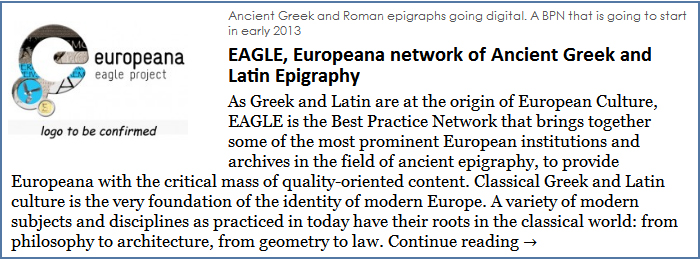 EAGLE, Europeana network of Ancient Greek and Latin Epigraphy
