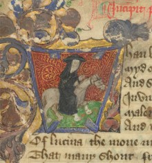 Detail of a miniature of the important 15th-century poet John Lydgate, the 'monk of Bury', riding to Canterbury as one of Chaucer's pilgrims; from John Lydgate, The Siege of Thebes, England, 2nd quarter of the 15th century