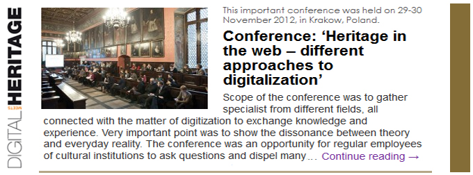 Conference: �Heritage in the web � different approaches to digitalization�