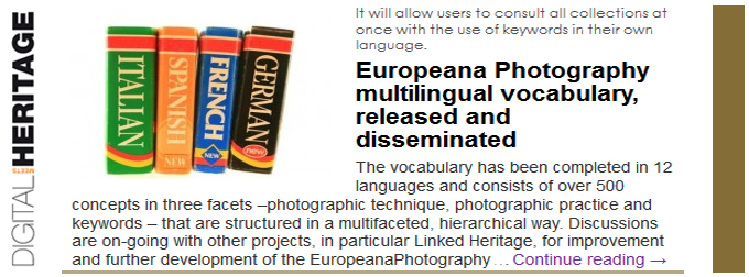 Europeana Photography multilingual vocabulary, released and disseminated