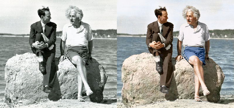 Albert Einstein summer 1939 Nassau Point Long Island(NY) Colorized by Edvos (aka Paul Edwards) - comparison