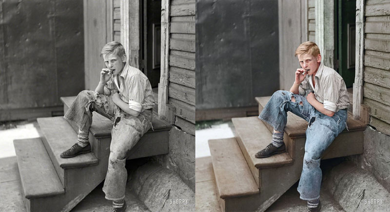 Young boy in Baltimore slum area, July 1938 - Original Photograph by John Vachon Colorized by Jordan J. Lloyd