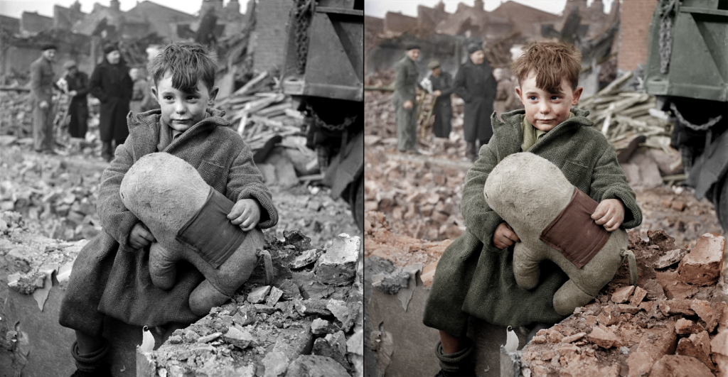 Abandoned boy holding a stuffed toy animal. London 1945 - orginal photo by Toni Frissel - colorized by Hans Lucifer