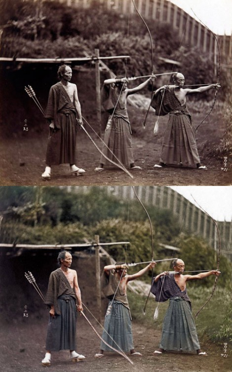 Japanese Archers ca 1860 - comparison