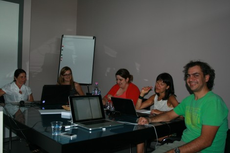 the metadata task force, A. Fresa, V. Bachi, N. Van Steen, S. Taes, N. Simou, during the meeting in Peccioli at Promoter's premises