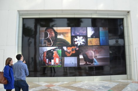 "The ""Best of Art Set Free"" digital installation at Brookfield Place Winter Garden in New York"