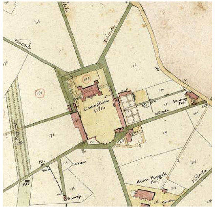 "Representation of ""Camugliana Villa"" and the farm ""Monte Fungoli Pod.e"" from the nineteenth-century cartography"
