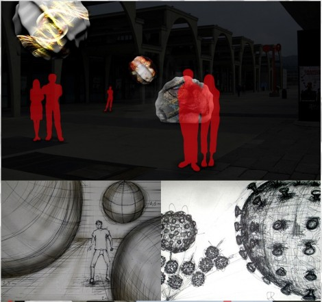 """VIRA 2012"" - installation project: wood, lycra, video-projection, sound diffusion"