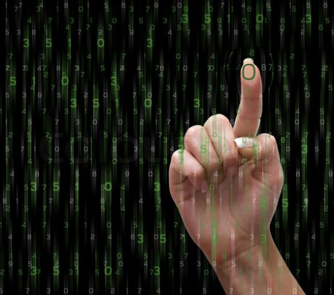 Hand with the numbers on the virtual screen