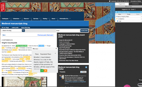 "Pundit in action: a web page from the British Library's ""Medieval manuscripts blog"" is being annotated using the ""Annomatic"" functionality. Annomatic enables automatic entity recognition, while matched entities can be confirmed or rejected before being saved as annotations"