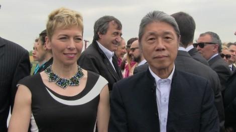 I.Pivetti-con-lartista-cinese-Lin-Mingde-alla-cerimonia-dinaugurazione-di-Aquae-20151