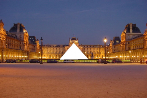 The Louvre at night, with the Pyramid censored (altered by 84user from a FOLP photo on Wikimedia). Source: Hyperallergic.com