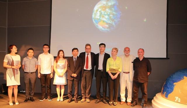 Agua for the Earth, Irene Pivetti, Tinggui Chen, Giuseppe Mattiazzo AD Expo Venice, Yuan Qi Min, pres.First Italy