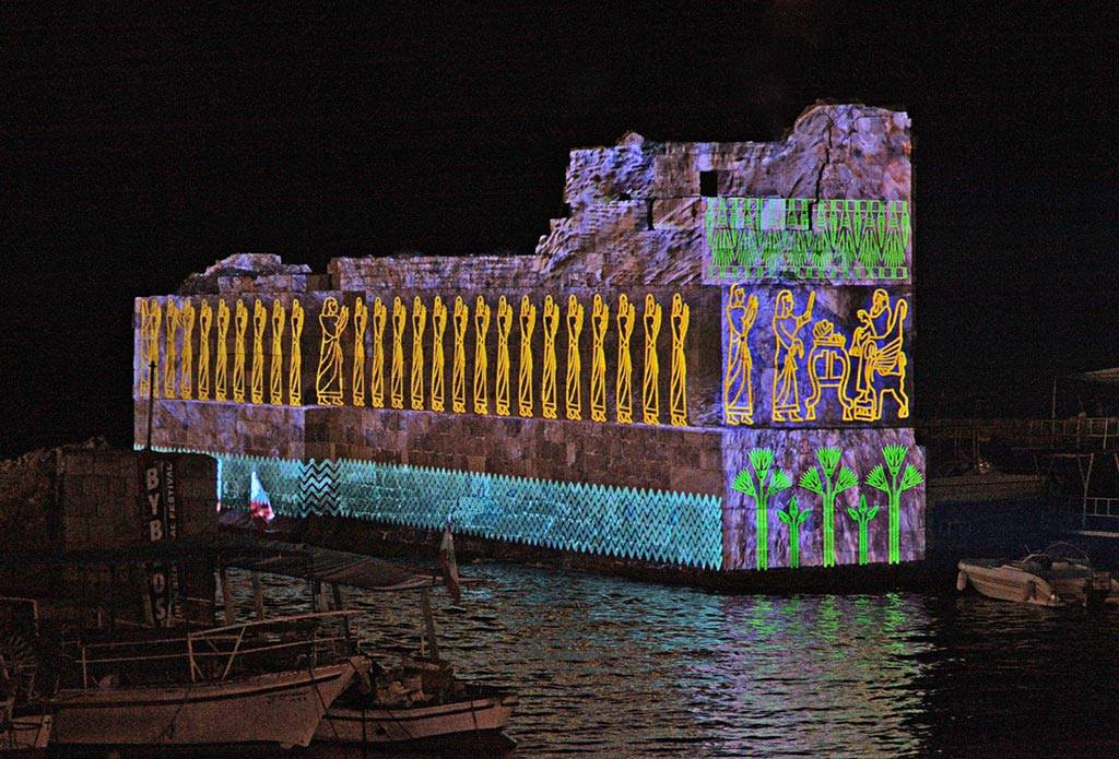 image from the third architectural video mapping show in Municipality of Jbail-Byblos realised by Kònic Thtr for the I AM Project
