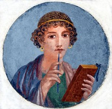 Fresco showing a woman so called Sappho holding writing implements_Pompeii-Naples_National Archaeological Museum_restored