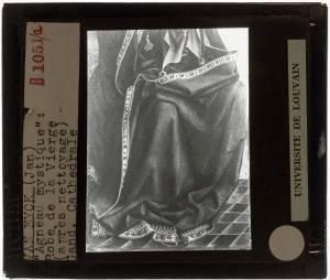 Jan van Eyck. Hubert van Eyck. Lam Gods Open: Our Lady Mary, detail: Dress Collection Glass slides KU Leuven Saint Baafs Cathedral, Ghent Public Domain Marked