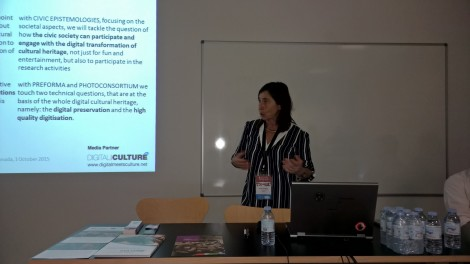 Antonella Fresa, from Promoter srl, introduced the objectives of the panel and the projects involved.