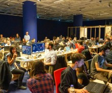 busy participants at the Open and Hybrid Publishing hackathon