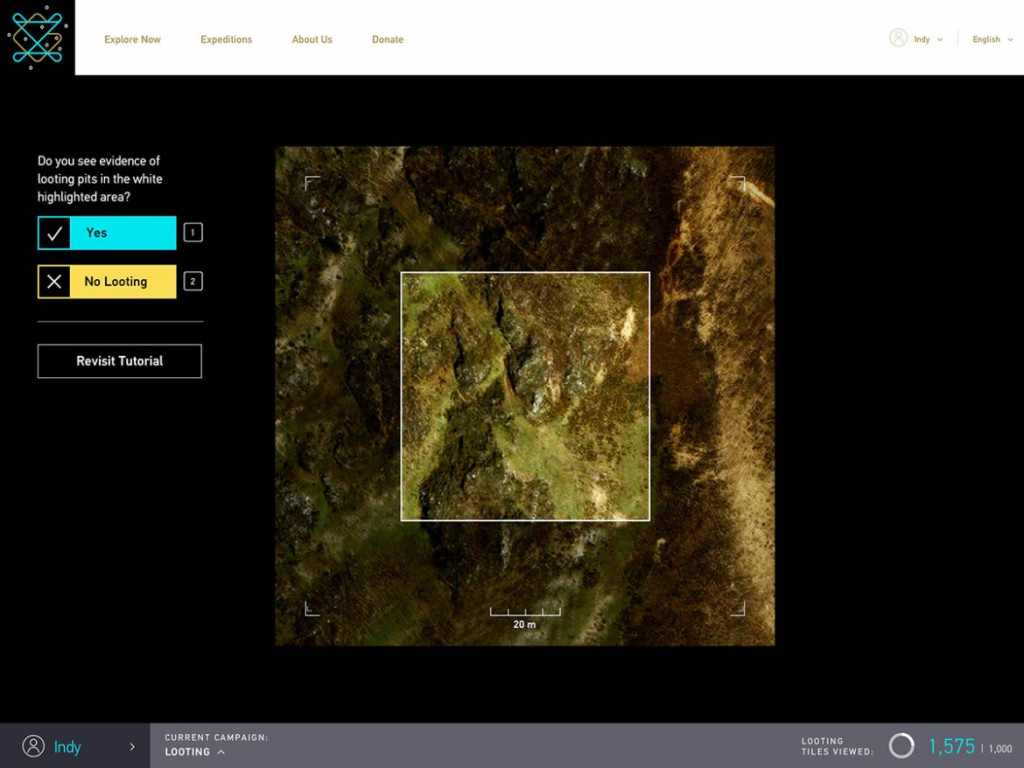 Screenshot of GlobalXplorer showing satellite imagery of Peru, broken into tiles about the size of a few city blocks (page designed by Mondo Robot; image ©DigitalGlobe 2016)