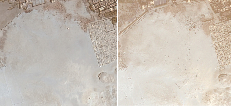 Satellite image of South Abusir, Egypt. The left image was obtained in 2009. The image on the right in 2011 and lootings are quite visible. Photo, courtesy Sarah Parcak.