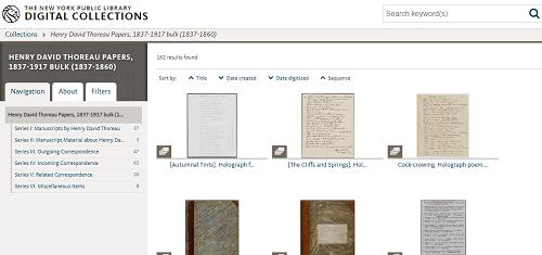 Screenshot: H. Thoreau manuscripts
