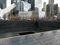 Ground Zero: North Tower; in the background 9/11 Memorial & Museum